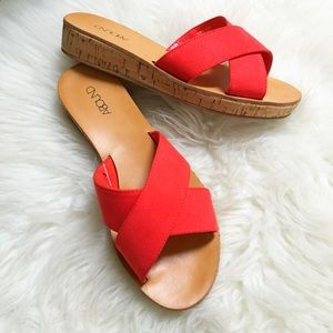 Size 7 Red Criss Cross Slide On Sandals
