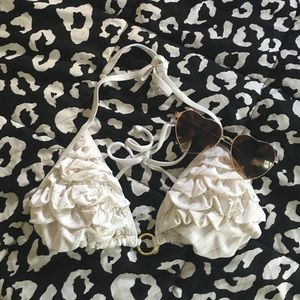 White and gold ruffle bikini top