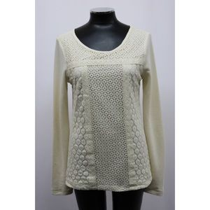 Lucky Brand Top Thermal Mixed Lace Ivory
