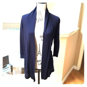 The Perfect Navy Shawl Colored Cardigan