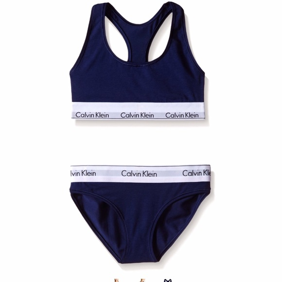 calvin klein calvin klein navy blue bralette and bikini. Black Bedroom Furniture Sets. Home Design Ideas