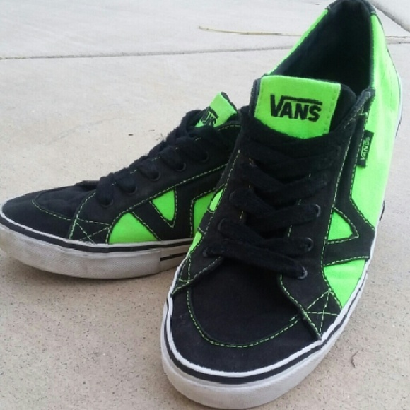 8bd125f6dd Vans Shoes - VANS Troy Neon Green Black Skate Shoes