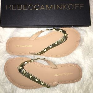 NIB Rebecca Minkoff Gold Studded Sandals