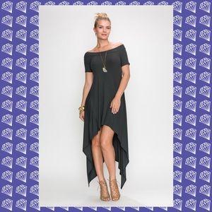 HP Off the shoulder hi-low coal black dress