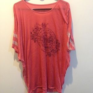 """Free People Tops - FREE PEOPLE Coral Rose """"320"""" Thin Tunic Shirt"""