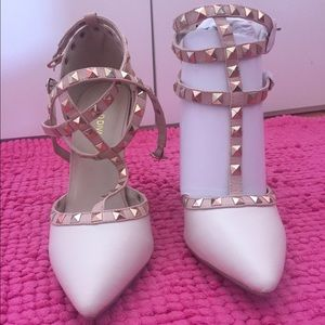 Ivory Pointed Toe Studded Heels