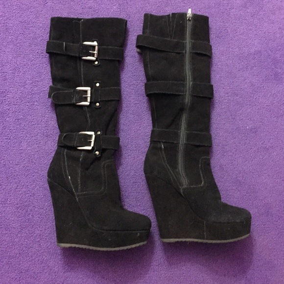 50% off Wild Pair Shoes - Knee high Buckle Wedge Boots from ...