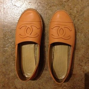 Chanel light orange espadrilles lambskin leather
