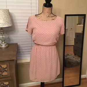  Forever 21 Pink Tan Polk A Dot Dress
