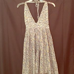 Vintage Deep V Monet Floral Dress