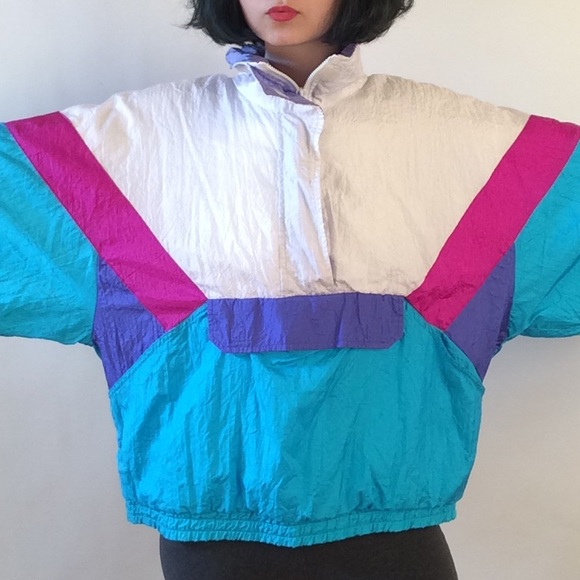 Colorful 80's windbreaker jacket L from Fei's closet on Poshmark