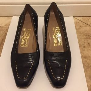 Ferragamo black high heel shoes