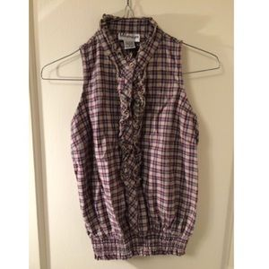 Plaid Blue and Purple Ruffle Top