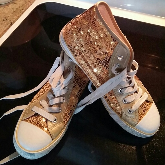 1940bdf703c3 balera Shoes - Balera gold sequined lace up sneakers size 8