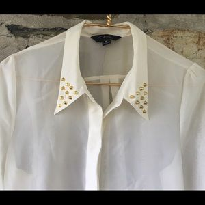 Brooke Leigh Tops - White blouse with gold spike collar sz medium