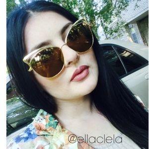Cateye Metal Frame Mirrored Sunglasses