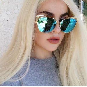 Cateye Metal Frame Mirror Sunglasses