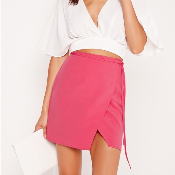 bba68b7393 Missguided Skirts | High Waisted Wrap Skirt In Pink | Poshmark