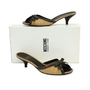 Moschino- Raffia Bow Slide Heels Sz 8.5