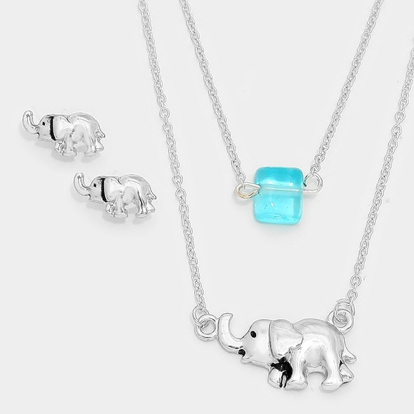 Elephant Necklace And Earrings Jewellery & Watches