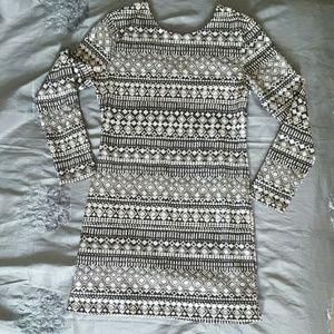 Patterned Bodycon Sweater Dress