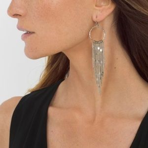 Jewelry - FRINGE HOOP DROP EARRINGS