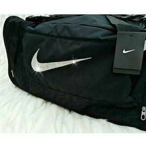 Nike Bags - Swarovski Bling Nike Brasilia 6 Duffle Gym Bag 899a44432deaa