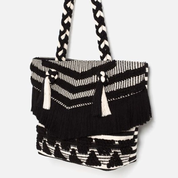 25% off Zara Handbags - Zara / black   white fringed beach bag ...