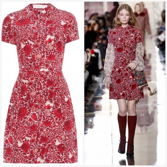 5e5e2e4503ed Tory Burch Red Kendra Printed Silk Dress