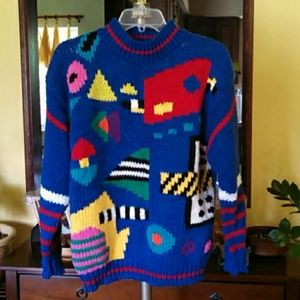 Sale! Vintage 1980s Handmade Colorful Sweater