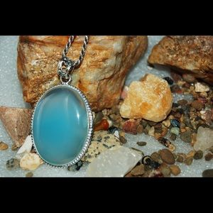 Light Sky Blue Onyx Statement Pendant 2""