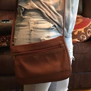 Leather fossil shoulder bag