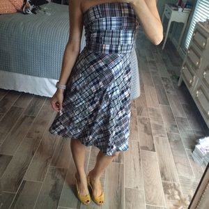 Strapless madras dress