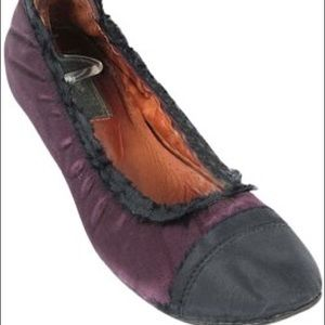Lanvin Shoes - Lanvin Satin Cap Toe Scrunch Ballerina Flats