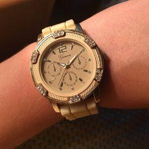 Geneva Accessories - 🌸SPRING SALE🌸Gold Rhinestone Silicone Band Watch