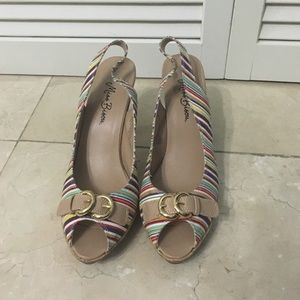 Colorful open-toe heels