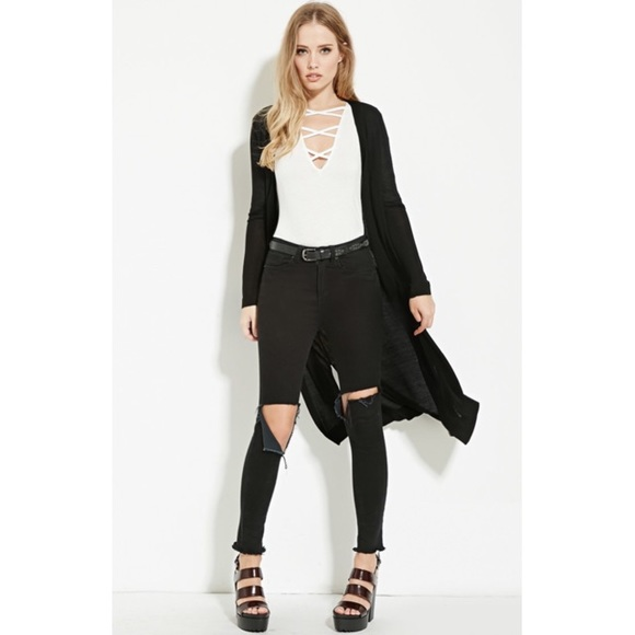 c232fda9311 Maxi/Duster/Long Line Black Button Up Cardigan