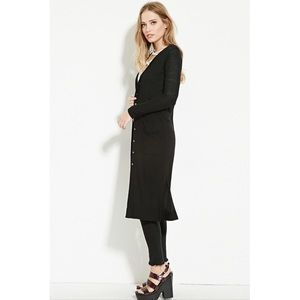 33% off Forever 21 Sweaters - Maxi/Duster/Long Line Black Button ...