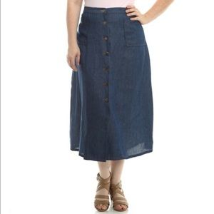 Dresses & Skirts - Bellino Essential Denim Button Up Skirt Plus New