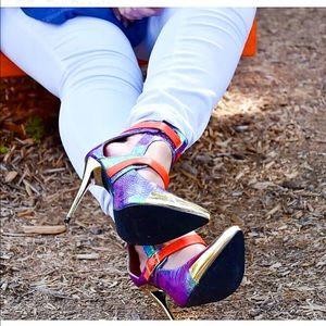 Shoes - Orange Textured Snakeskin Heels