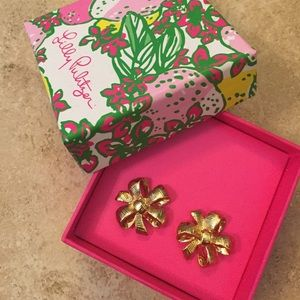 Lily Pulitzer gold bow earrings