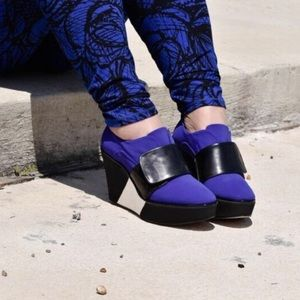 Reed Krakoff Shoes - Reed Krakoff Black White Blue Booties