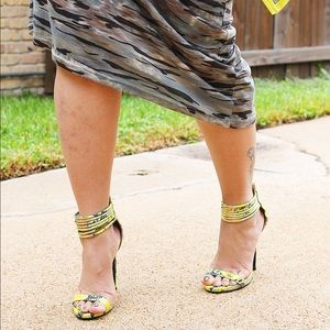Neon Yellow & Grey Snakeskin Print Strappy Heels