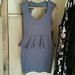 poof couture Dresses & Skirts - Gray peplum dress