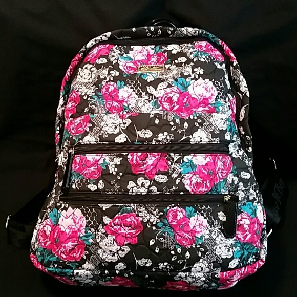 0dfed9c042 Betsey Johnson Handbags - BETSEY JOHNSON BLACK FLORAL PRINT QUILTED BACKPACK