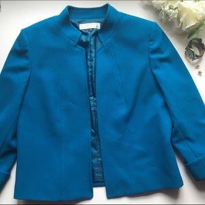 Tahari Jackets & Blazers - Tahari // Stand Collar Fitted Open Jacket - blue