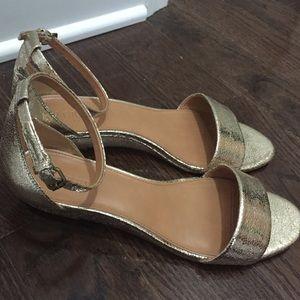 3e8e6ae276498 J. Crew Factory Shoes | J Crew Factory Crackle Gold Wedge Sandals Sz ...