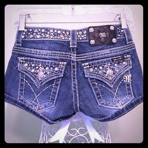 Miss Me Pants - MISS ME denim shorts bling