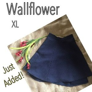 Wallflower Dresses & Skirts - Wallflower navy blue textured skater skirt XL