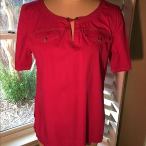 Talbots hot pink short-sleeve blouse
